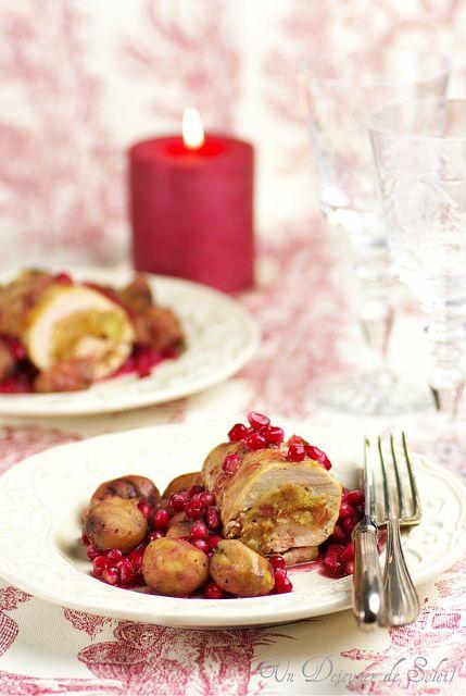 Roulés de dinde farcie aux marrons et grenade (stuffed turkey)