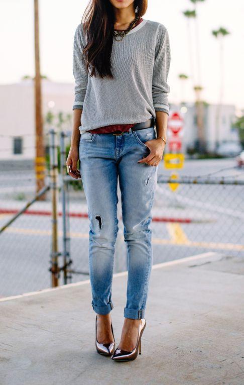 Slouchy denim heels.