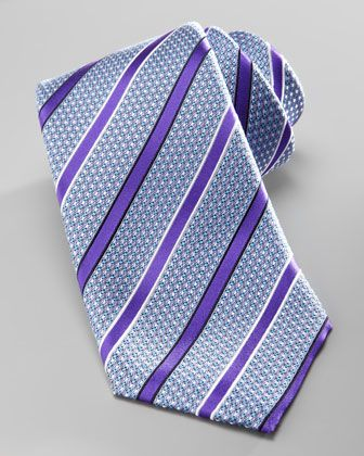 Striped Silk Tie, Purple by Ermenegildo Zegna at Neiman Marcus.