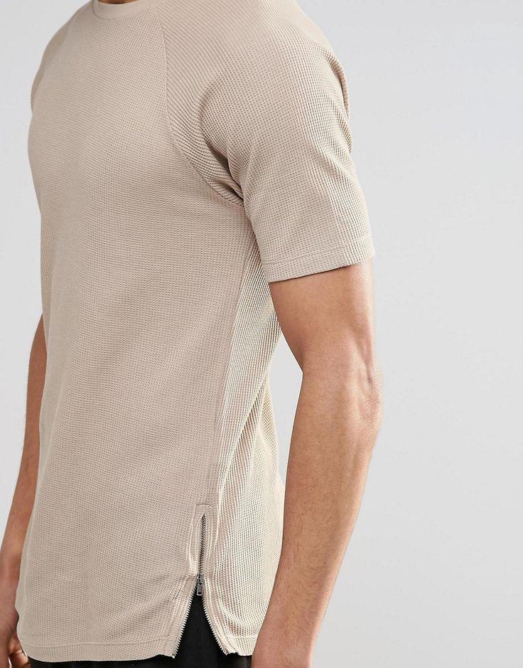 ASOS Longline Muscle T-Shirt In Waffle With Side Zips In Beige £16