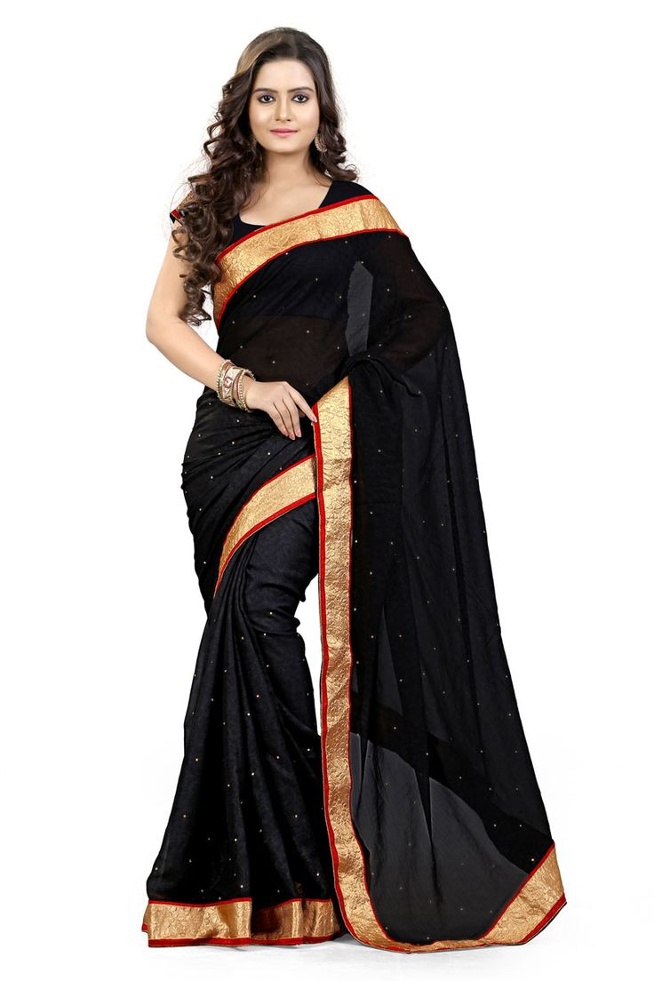 Black color with Golden 7 red lace border stylish plain sober #partywear Saree