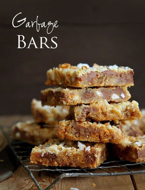 Amazing Garbage Bars! Ingredients: graham cracker crumbs, butter, sweetened condensed milk, pb chips, milk chocolate chips, white choclate chips, butterscotch chips (or empty pantry; e.g. candy bars, oatmeal, etc)