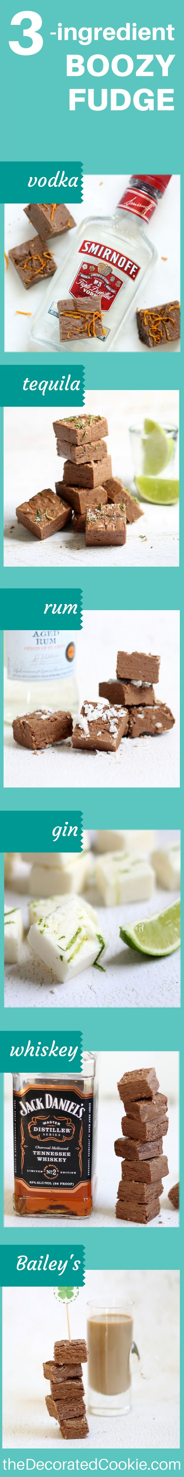 3-ingredient boozy FUDGE! Use any liquor you like. Great homemade food gift.