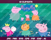 Peppa Pig Clipart – 10(Svg, Eps, Png, Jpg Files) – 300 PPI – Peppa Pig Decoration – Peppa Pig Printable – Peppa Pig Party Supplies – Vector