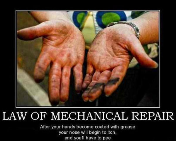 Law of Mechanical Repair: As soon as your hands are coated in grease, your nose will begin to itch, and you will have to pee. SO TRUE