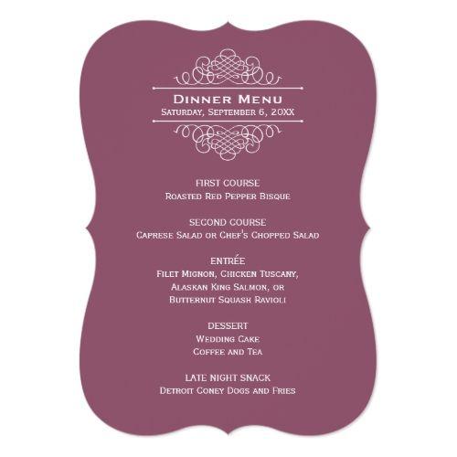 Wedding Dinner Menu Card | Muted Wine Red