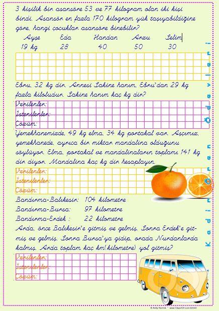 ilkokul ödevleri: 3. sınıf toplama ve çıkarma problemleri