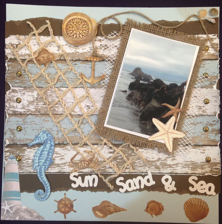 SUN, SAND & SEA - $20.  Using Bo Bunny Boardwalk collection, this is one of my favourite pages.  Comes with an assortment of embellishments as well as the brown ones that are fussy cut on the page.  Contact Deborah kitsandbits1@gmail.com