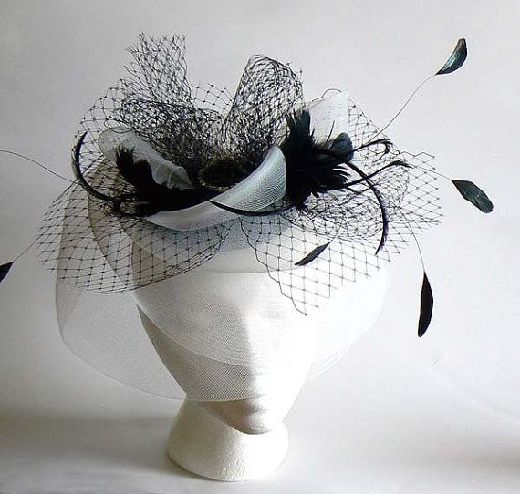 black and white horsehair fascinator  black and ivory