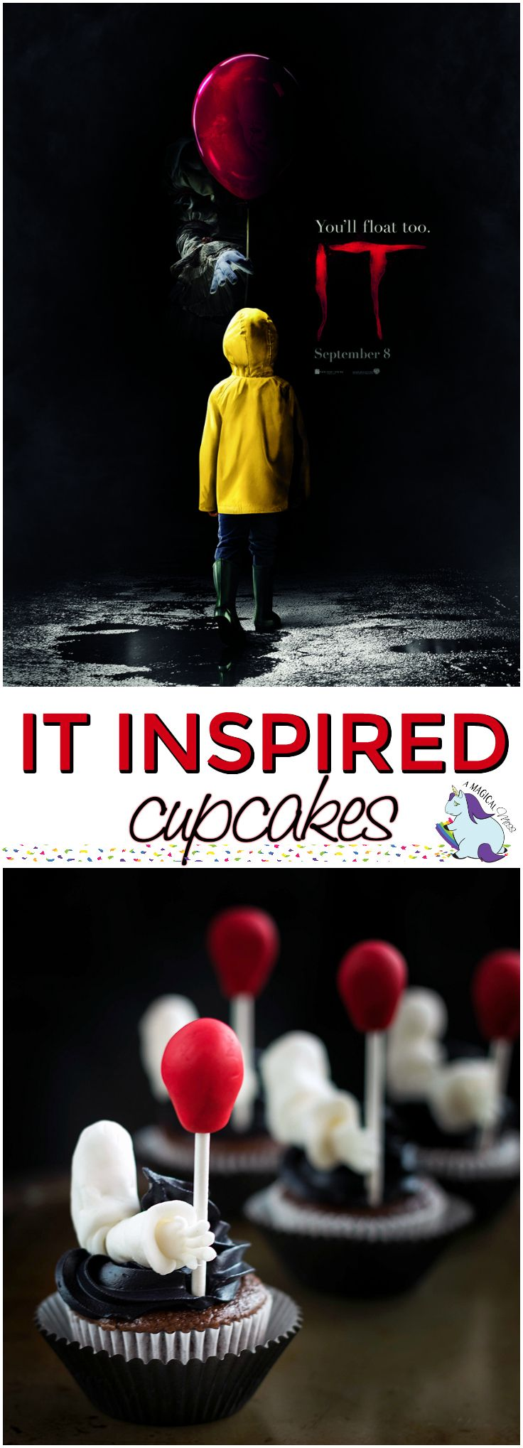 Creepy Clown Cupcakes Inspired by the IT Movie
