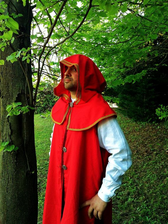 MADE TO ORDER  red cape with hood and tunic by RavenThreadsLab