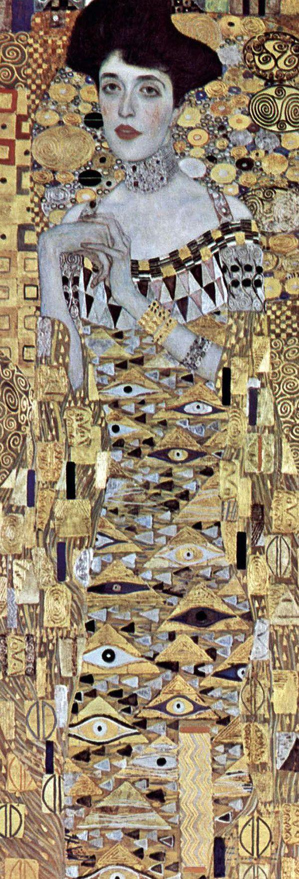 Detail 1 /Gustav Klimt (150th anniversary today!). Portrait of Adele Bloch-Bauer I (Bildnis Adele Bloch-Bauer). 1907