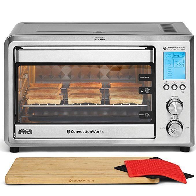 Convectionworksa Hi Q Intelligent Countertop Oven Set 9 Slice Xl Convection Oven Toaster W Bamboo Cuttin Countertop Oven Toaster Oven Convection Toaster Oven