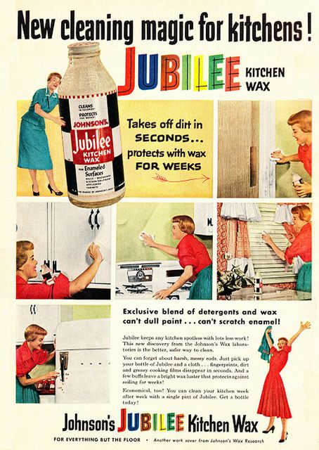 Johnson's Jubilee Kitchen Wax ad, 1953. I love cleaning!
