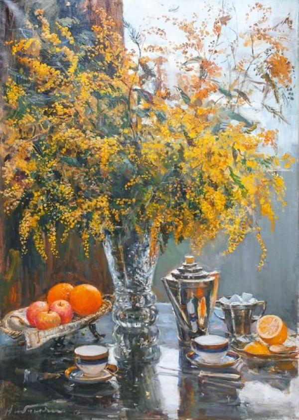 НАЛБАНДЯН Дмитрий Аркадьевич (1906–1993) Натюрморт. Мимоза. 1956