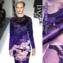 40 Momme европа шелковый шерстяной ткани ткань и шелковый атлас печать материал фиолетовый утолщенной чонсам(China (Mainland))