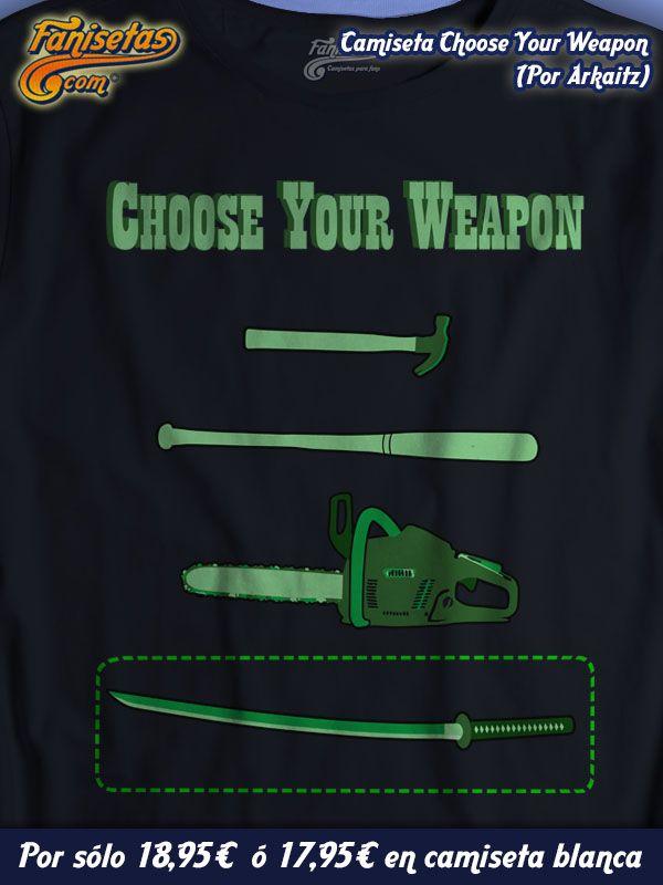"""""""Choose Your Weapon"""" por #Arkaitz #Camiseta que hace referencia a una escena de la película #PulpFiction en la que el personje de #BruceWillis (Butch Coolidge) tiene que elegir un arma, en esta ocasión, como si se tratara de un #videojuego. #Camisetas #Fanisetas http://www.fanisetas.com/camiseta-choose-your-weapon-p-4815.html"""