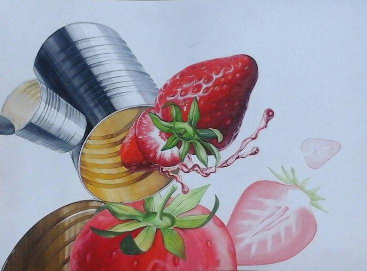 딸기, 스틸 원통, 개체표현, 주제부 묘사