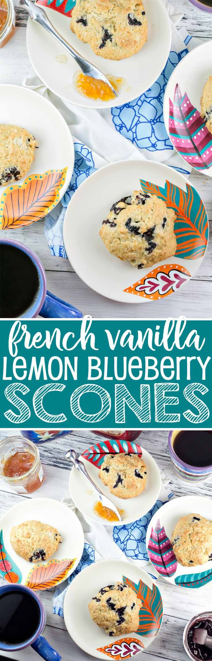 French Vanilla Lemon Blueberry Scones: the perfect addition to your spring and summer brunches.  Easter, Mother's Day, bridal showers, tea parties - these easy scones are perfect for sharing! {Bunsen Burner Bakery} #ad via @bnsnbrnrbakery