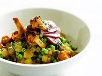 Recepten - Risotto van aardappel en erwtjes met gerookte eendenfilet