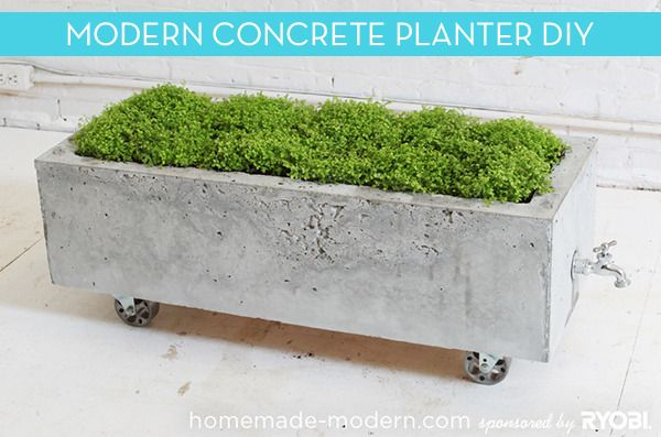 How To: Make a Modern, Trough-Style Concrete Planter or remove the pot plants, add ice and have an outdoors drink cooler