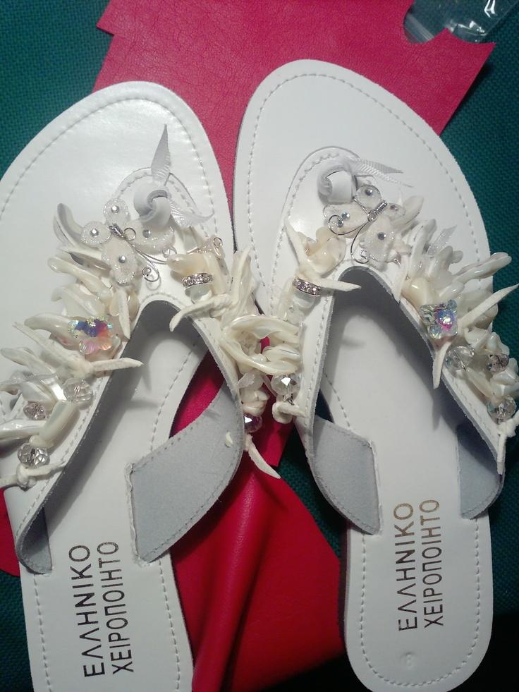 handmade sandals with swarovski and coralls