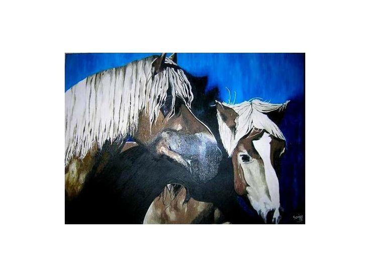 The Horses 63 cm x 1 mt Oil on Canvas ( Óleo sobre Tela) www.artsaigg.com Sold Out - Vendida