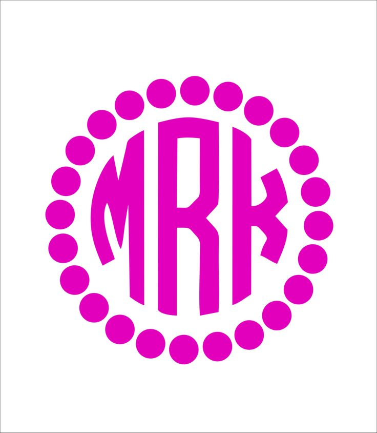 Circle Car Monogram Sticker With Polka Dot Border Car