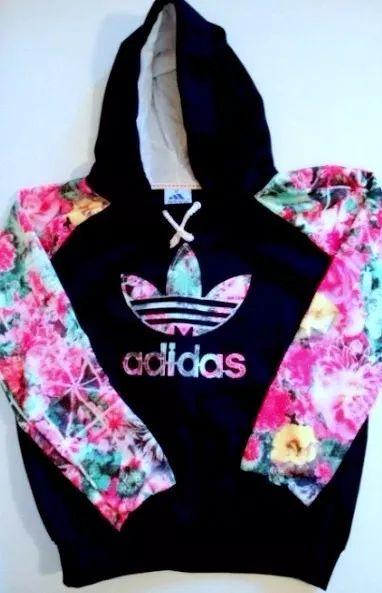 blusa agasalho moletom adidas floral com envio imediato
