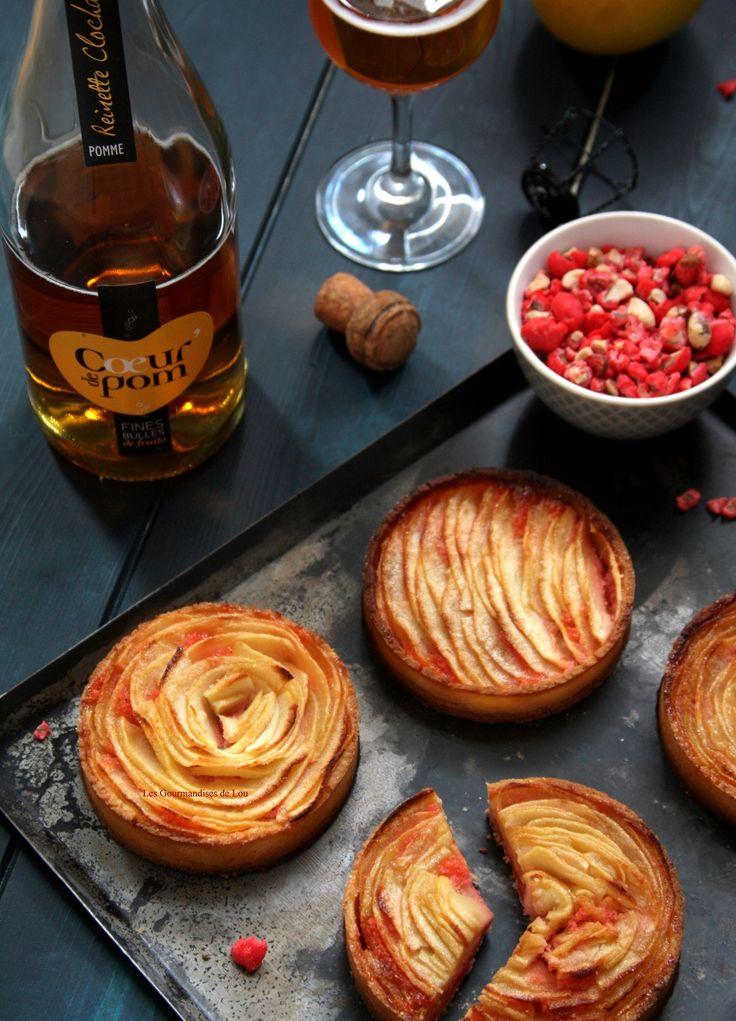 Tartelettes aux pommes crème d'amande aux pralines roses