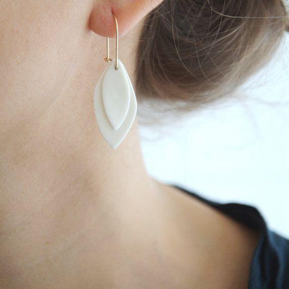 A n i e - Boucles d'oreilles en porcelaine & or rempli (gold filled) - Bijoux céramique