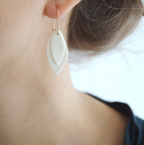 A n i e - Ceramic jewelry - Leaves porcelain earrings & goldfilled earwires - Canopee Collection on Etsy, $57.91