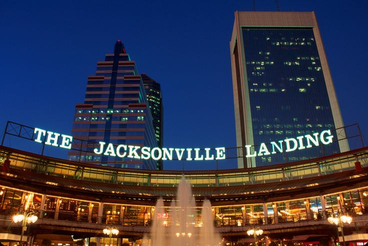 Jacksonville Landing, watched a pod of dolphins at night here.