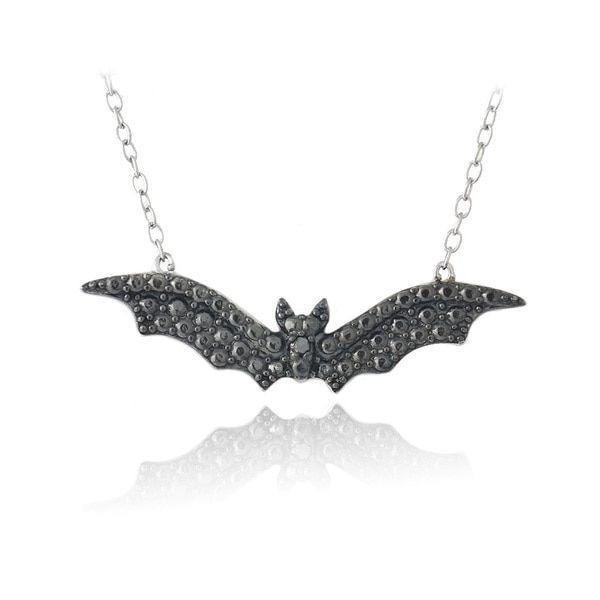 DB Designs Sterling Silver Black Diamond Bat Necklace