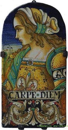 Deruta Italian Male Portrait Hanging Arching Tile- Carpe Diem style - 1 in x 6 in x 12 in (2.5cm x 15cm x30cm)