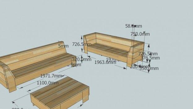 Loungeset bouwtekening, steigerhout tuinbanken en loungetafel.