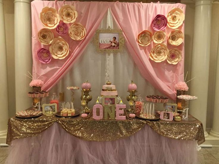 Pink & gold birthday party table! See more party planning ideas at CatchMyParty.com!