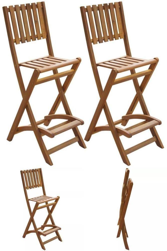 Patio Folding Bar Stools Cafe Bar High Chairs Seats Wooden Garden Furniture Set