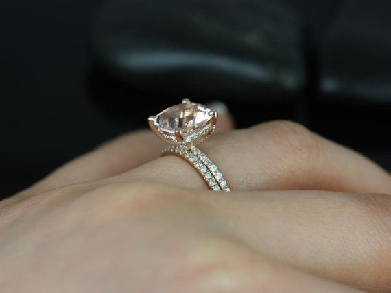 Heidi Grande Size 14kt Rose Gold Cushion Morganite and Diamond Basket Wedding Set (Other metals and stone options available) on Etsy, $2,200.00