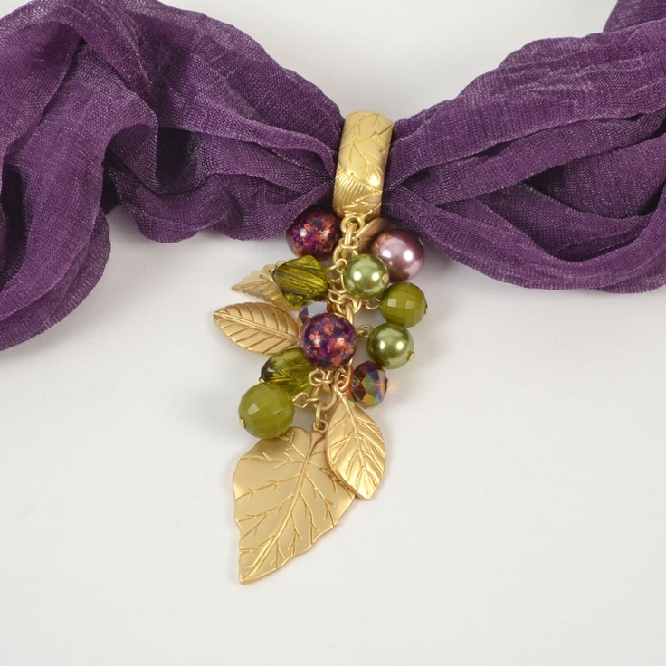 Multi Leaf with Bead Drop Scarf Jewelry - $10.90