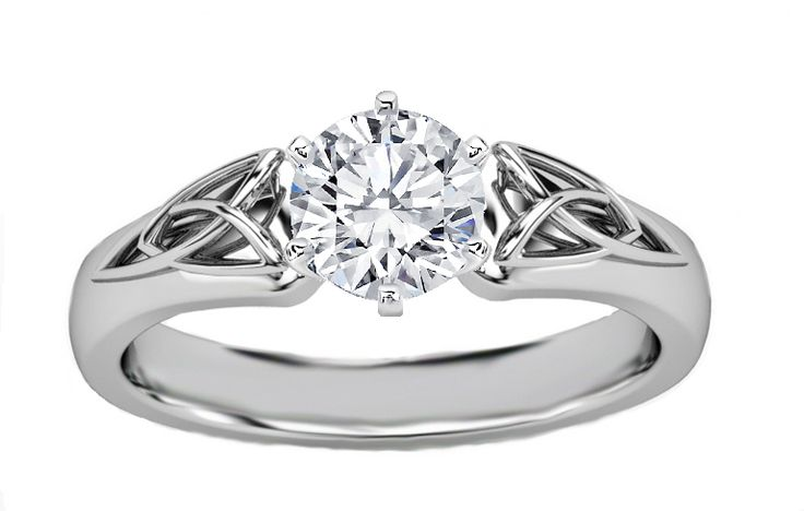 Engagement Ring - Round Diamond Triquetra Celtic Engagement Ring in 14K White Gold - ES835BRWG