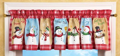 Snow Time Checkered Window Valance  - too cute!