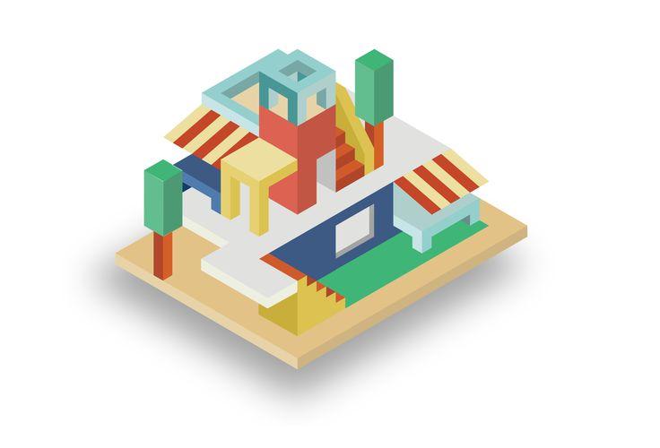 cube house design. using adobe adobe illustrator