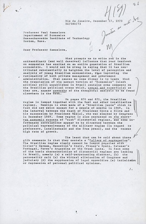 Carta de Roberto Campos a Paul Samuelson