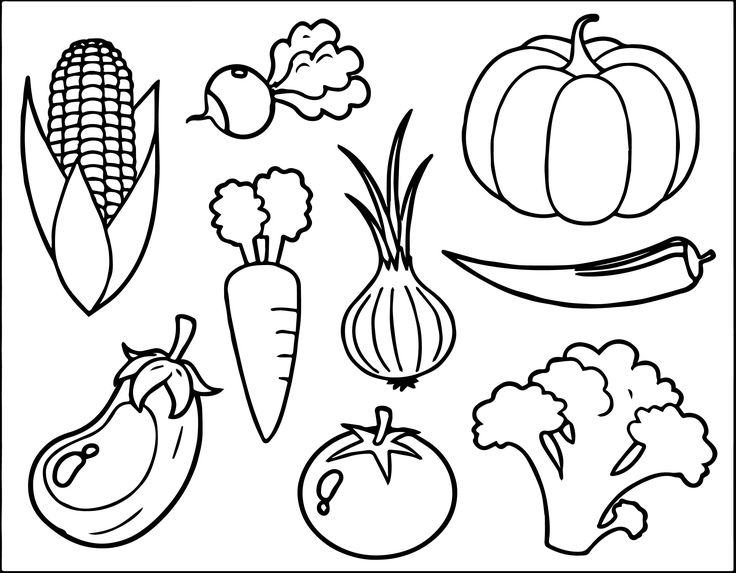fruits and vegetables coloring pages printable pictures of