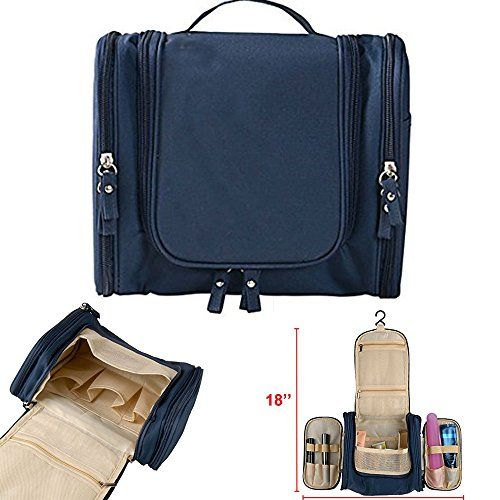 Toiletry Bag,Muyee Portable Hanging Travel Bags Organizer Cosmetic Bag for Women Makeup or Men Shaving Kit with Hanging Hook for vacation (Navy Blue)