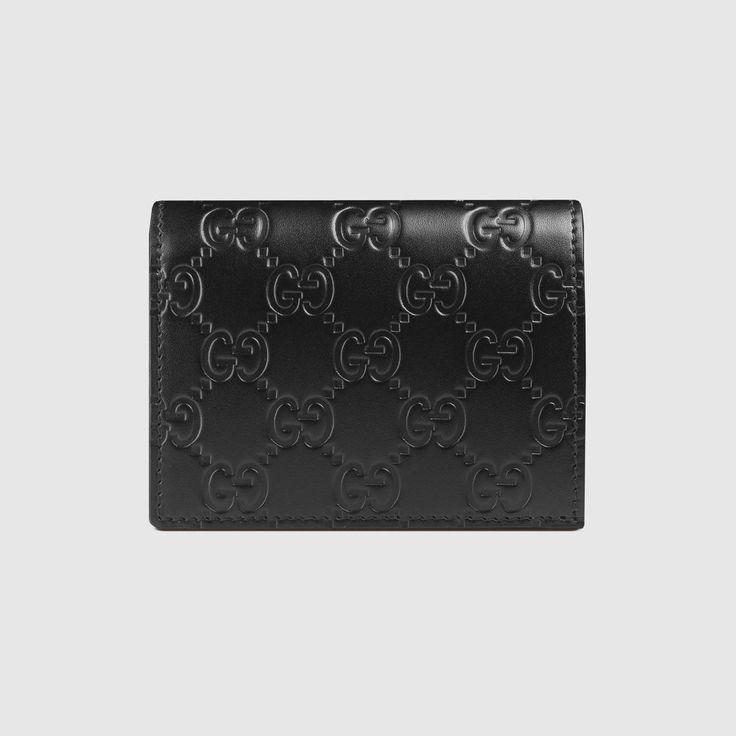 GUCCI Gucci Signature Card Case - Black Gucci Signature. #gucci #bags #leather #