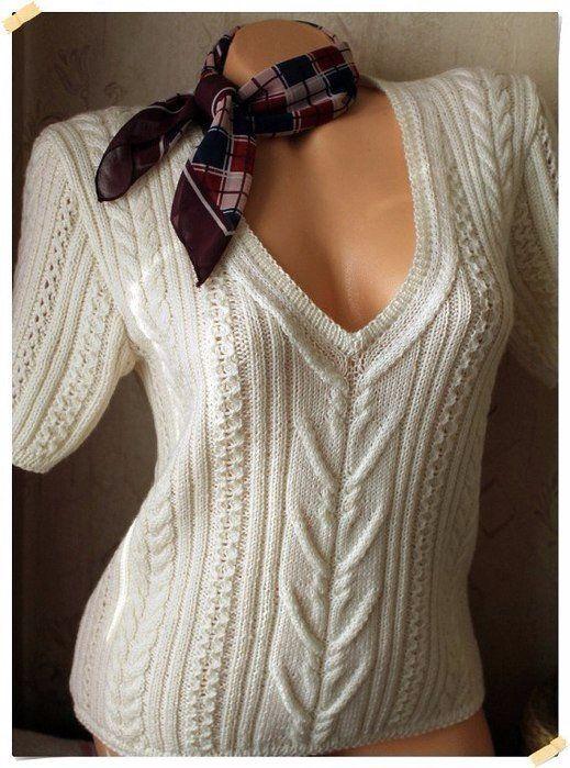 Пуловер с короткими рукавами спицами схема. Узор для вязания спицами ажурная коса