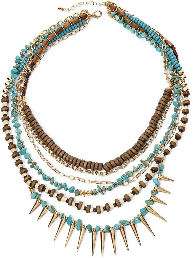 JCPenney Decree Multi-Row Wood Spike Necklace