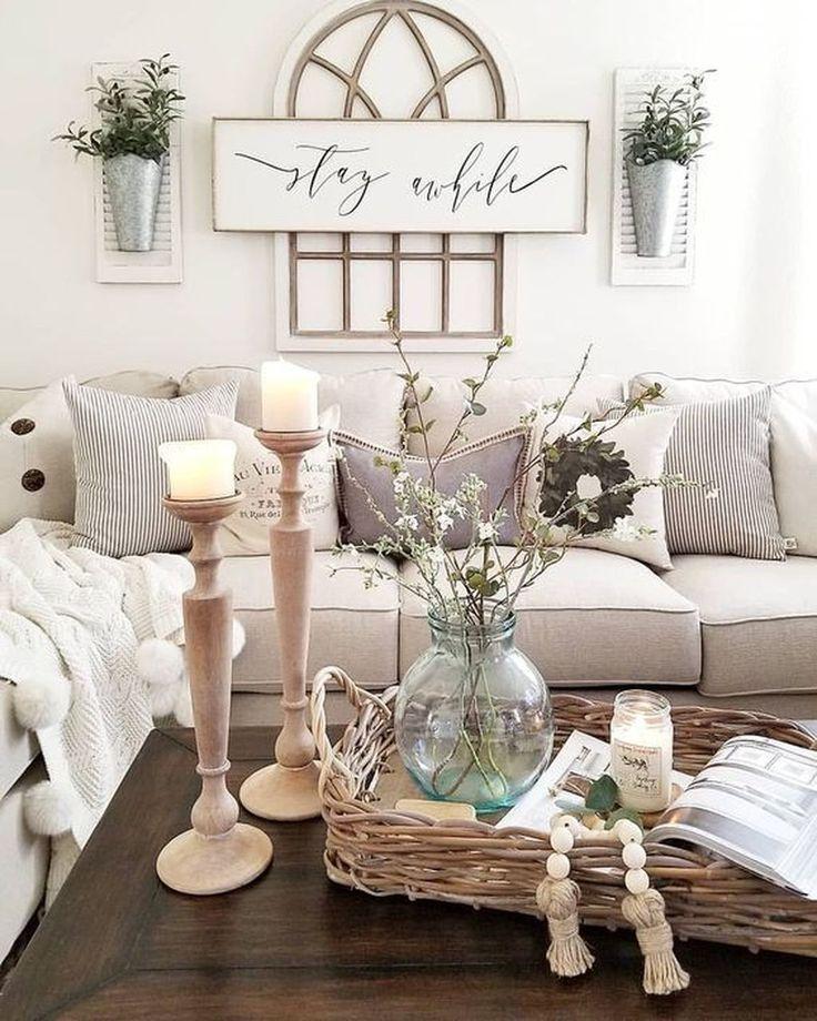 48 Cool Farmhouse Living Room Decoration Ideas